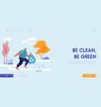 sportsman character plogging in park landing page vector image vector image