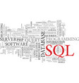 sql word cloud concept vector image vector image