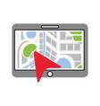 tablet arrow map navigation destination symbol vector image
