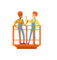 talking and smiling male miners in uniform vector image vector image