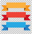 three ribbon banner on transparent background vector image