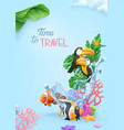time to travel background 3d realistic tropical vector image vector image