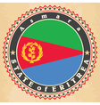 Vintage label cards of Eritrea flag vector image