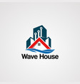 wave house logo with techno building touch vector image vector image