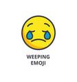 weeping emoji emoji line icon sign vector image
