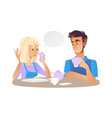young man woman talking at cup of tea vector image vector image