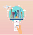 hand holding boarding pass at airport to new york vector image
