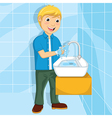 Of A Little Boy Washing His Ha vector image