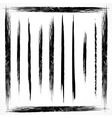 set of grunge line brush strokes vector image
