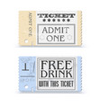 set of retro cinema tickets or event shape with vector image