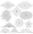 Set of vintage handdrawn sunbursts in different vector image