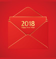 2018 new year greetig card with red envelope vector image vector image