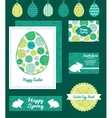abstract green circles set of Easter cards vector image