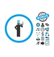 American Capitalist Flat Icon with Bonus vector image