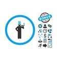 American Capitalist Flat Icon with Bonus vector image vector image