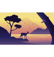 at the morning deer scenery silhuoette vector image vector image