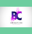 bc b c purple letter logo design with liquid vector image