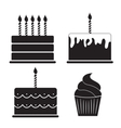 Birthday Cake Silhouette Set vector image vector image