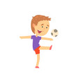 boy playing playing soccer kids physical activity vector image vector image