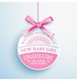 Bright congratulatory label for newborn vector image vector image