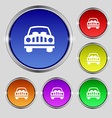 Car Icon sign Round symbol on bright colourful vector image
