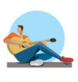 caucasian musician sitting with the guitar in vector image