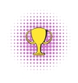 Champions gold cup icon comics style vector image