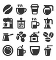 coffee icons set on white background vector image vector image