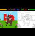 coloring book or page cute donkey in the farm vector image vector image