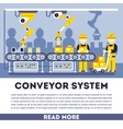 Conveyor system with manipulators flat vector image vector image