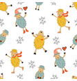 cute sheeps seamless pattern colorful seamless vector image