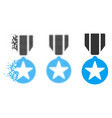 damaged dot halftone army star award icon vector image vector image