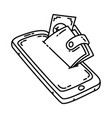e-wallet icon doodle hand drawn or outline icon vector image