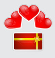 Empty Gift Card with Red Hearts vector image