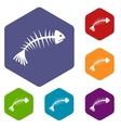 Fish bones icons set vector image vector image