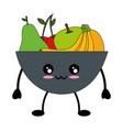 fruits on dish cute kawaii cartoon vector image