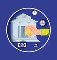 hand with bank building and set icons economy vector image vector image