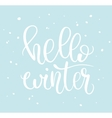 Hello winter phrase and snow vector image vector image