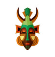 horned african mask ethnic symbol voodoo