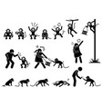 human and monkey stick figure pictograph depict vector image