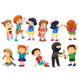Kids at different crime scenes vector image vector image