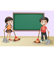 Kids cleaning near the empty board vector image vector image