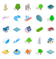 landscape icons set isometric style vector image vector image