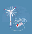 lettering energy with cartoon wind turbine and vector image vector image