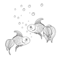Line art fish contour vector image vector image