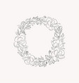 line drawing leaf flower wreath frame vector image