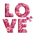 love word made beautiful paper cut pink flowers vector image vector image