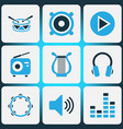 multimedia colored icons set collection of vector image vector image