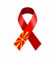north macedonian flag stripe ribbon on white vector image