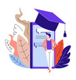 online education smartphone in academic hat and vector image vector image